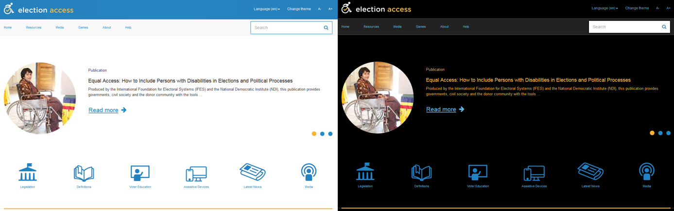 On the left side is the homepage of ElectionAccess.org with a white background and dark text. On the right is the same homepage but with a black background and light text.
