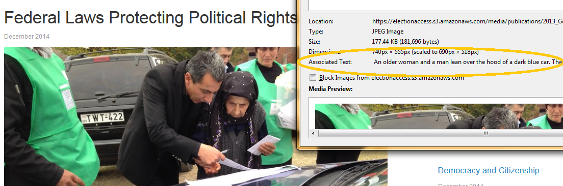 "On the left is a photo showing a man assisting an older Georgian voter with her ballot. To the right is a pop-up box that includes ""associated text"" describing the image."